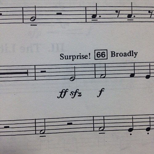Music half note sforzando surprise sheet music funny
