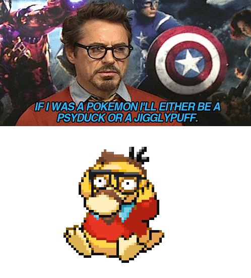 Pokémon,robert-downey-jr-psyduck,The Avengers,funny