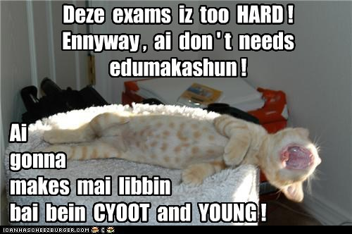 Deze exams iz too HARD ! Ennyway , ai don ' t needs edumakashun ! Ai gonna makes mai libbin bai bein CYOOT and YOUNG !