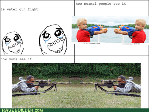 kids,squirt guns,moms,parenting,funny