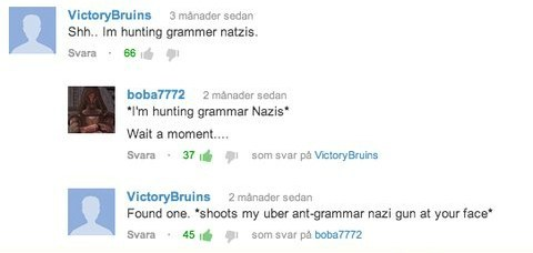 grammar nazi,youtube comments