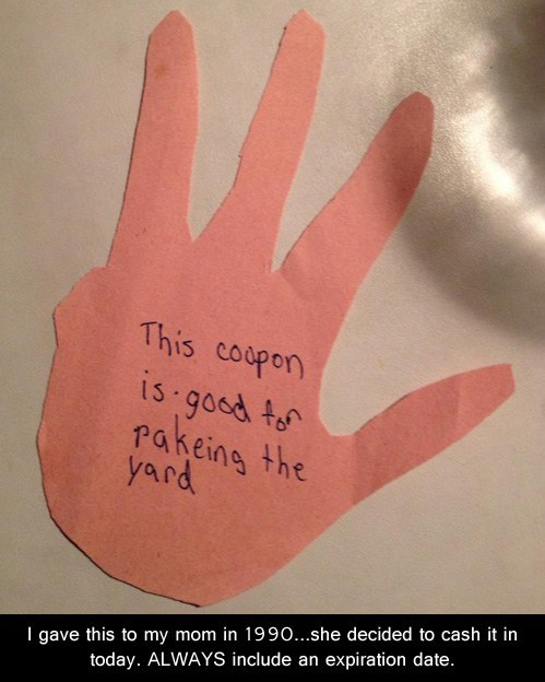 yardwork coupons raking the yard parenting chores funny