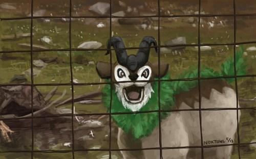 Pokémon,art,goats,gogoat,funny