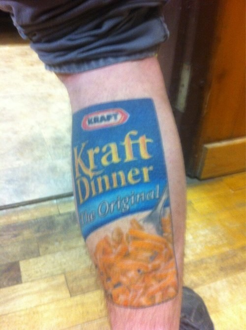 tattoos,macaroni and cheese,funny