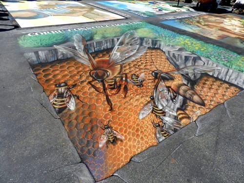 Street Art bees hacked irl illusion - 7456292608