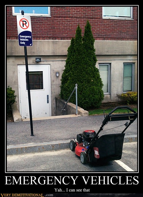 emergency,lawn mower,grass,parking,funny