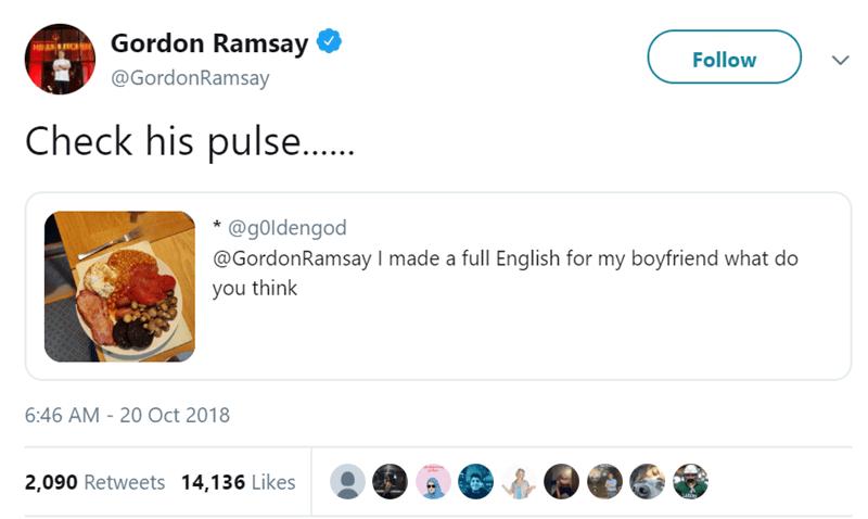 gordon ramsay chef funny tweets food roasted - 7457285
