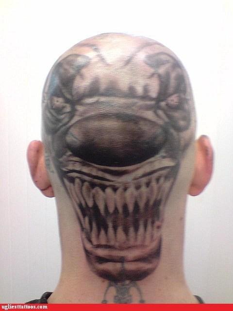 clowns wtf head tattoos funny