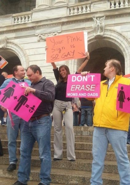 pink signs protestors gay marriage funny - 7459135488