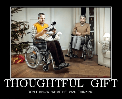 wtf,wheelchair,ice skates,thoughtful gift,funny