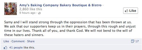 Amy's Baking Company responds to initial bad yelps