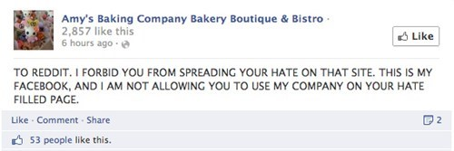 Amy's Baking company losing their composure when reddit and yelp users don't like what they saw.