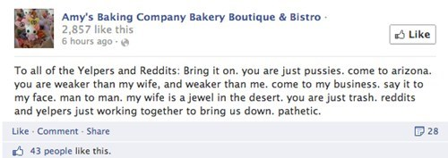 Amy's Baking company makes their plea personal to the reddit and yelp users.