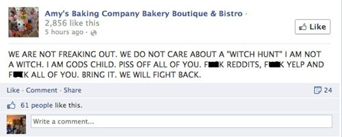 All caps reassurance that Amy's Baking company is not freaking out.