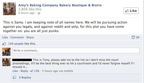 Amy's Baking company threatening legal action against the users.