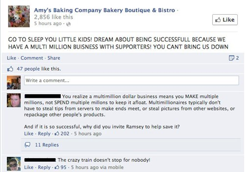 More all caps rant by Amy's Baking Company after a bad episode on Gordon Ramsay