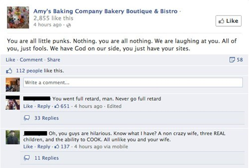 Amy's Baking company claims they have god on their side.