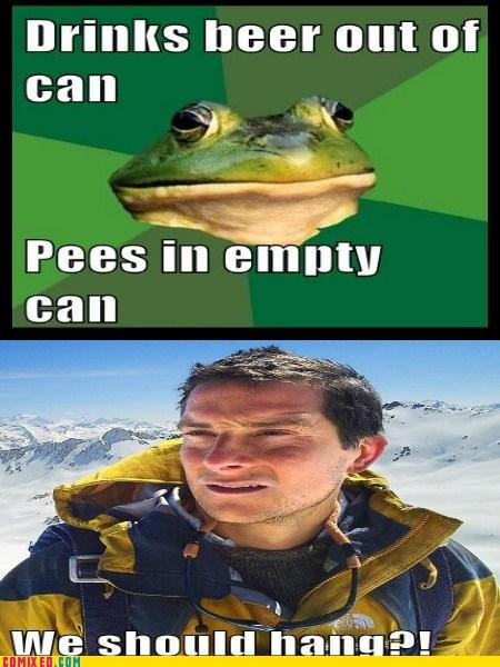 bear grylls,gross,foul bachelor frog,pee,funny