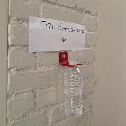 fire safety water bottles funny