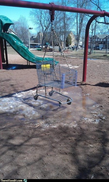 shopping cart,playground,swing,funny,g rated,there I fixed it