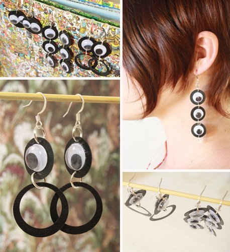 earrings,googly eyes,DIY