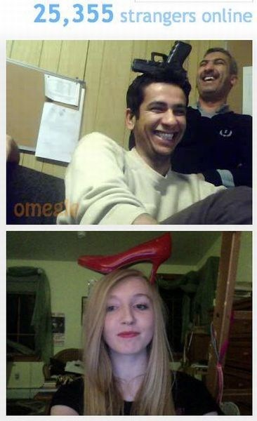 Funny screen shot from Omegle of two singles who put a gun or a shoe on their head and ended up finding each other.