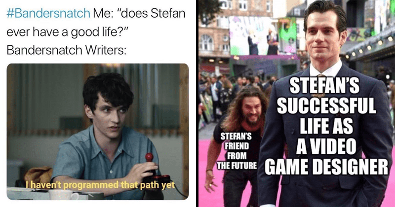 Funny memes about Netflix, Black Mirror, Bandersnatch.