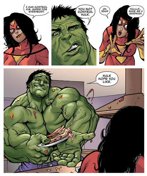spider woman off the page sandwich hulk funny - 7461832448