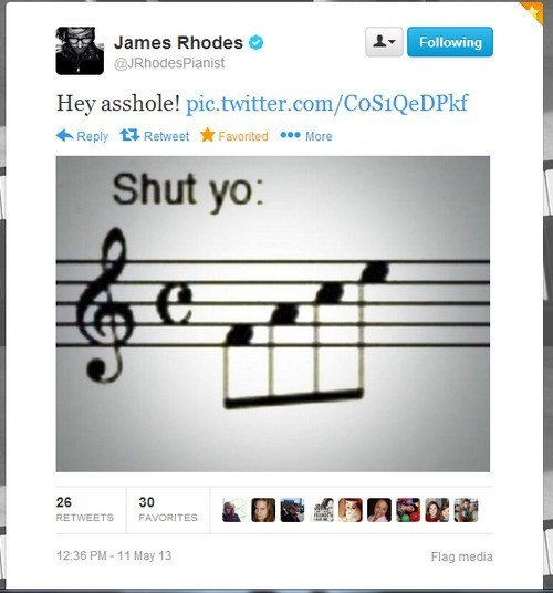 shut yo face,Music,twitter,James Rhodes,insults,notes,funny,g rated