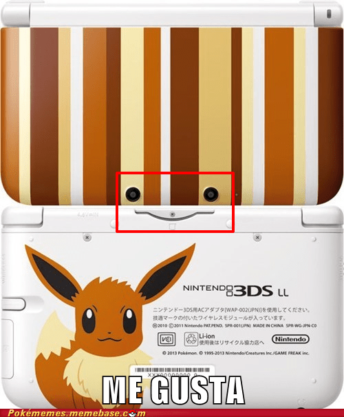 3ds LL,eevee,Japan,funny