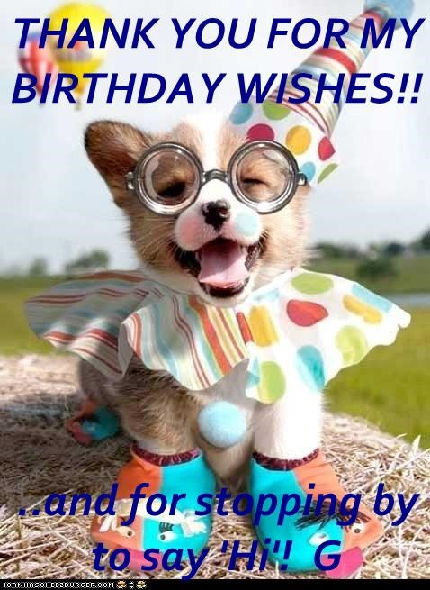 THANK YOU FOR MY BIRTHDAY WISHES And For Stopping By To Say Hi