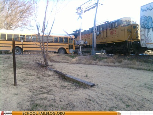 wtf schoolbus close call train funny - 7462787328