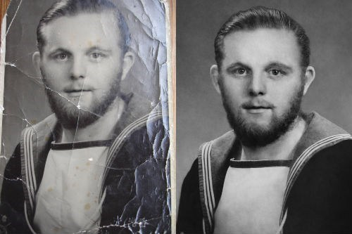 Imagini amuzante si haioase - Restored Faith in Humanity of the Day: Reddit Restores WWII Veteran\'s Damaged Navy Photo