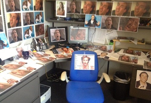 cagings caged office pranks nicolas cage cubicle pranks monday thru friday g rated - 7463093760