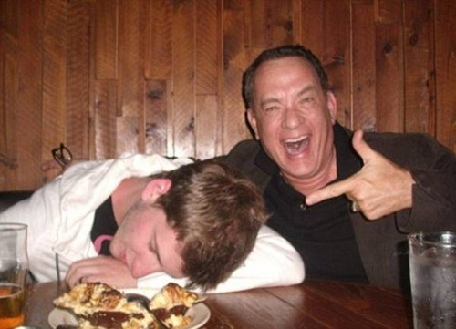 wtf tom hanks passed out funny - 7463119104