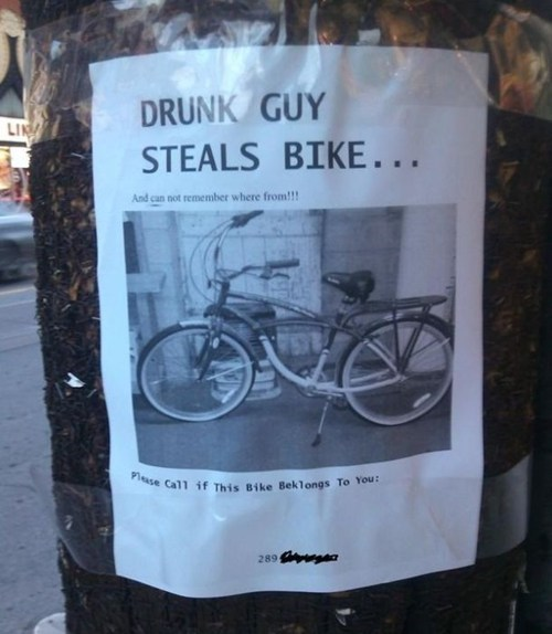 sign drunk bike theft fail nation g rated - 7463732992
