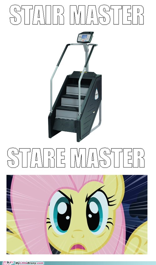 Staring stair master fluttershy know the difference funny - 7466209024