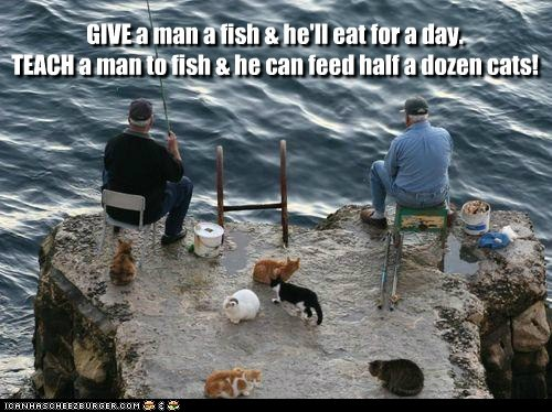 GIVE a man a fish & he'll eat for a day. TEACH a man to fish & he can feed half a dozen cats!