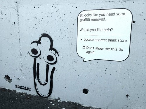 clippy,graffiti,microsoft word,funny,monday thru friday,g rated