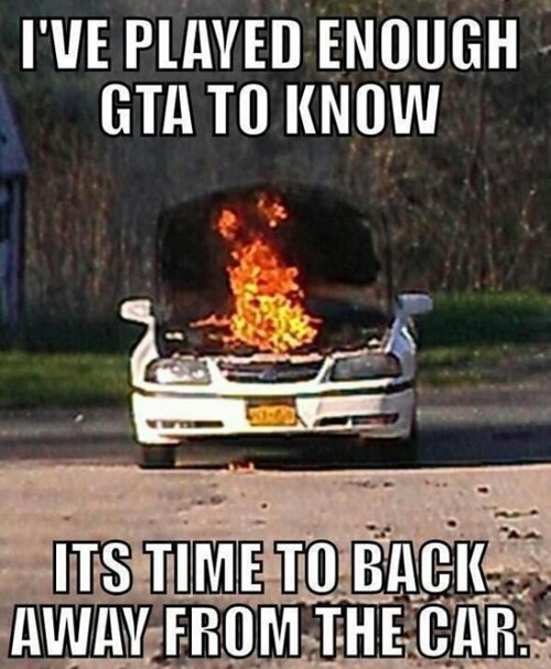 burning,video game lessons,cars,Grand Theft Auto,funny
