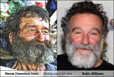 totally looks like robin williams homeless man funny