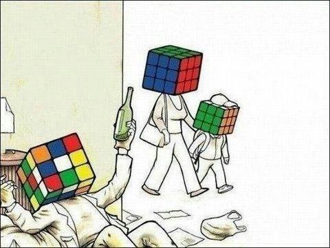 rubix cube,drunk,comic,funny