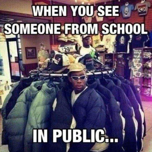 that's my coat bro,school,in public,hiding,funny