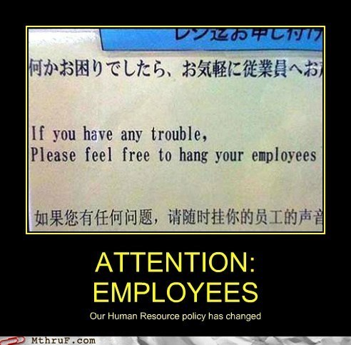 engrish translation japanese employees Japan funny monday thru friday