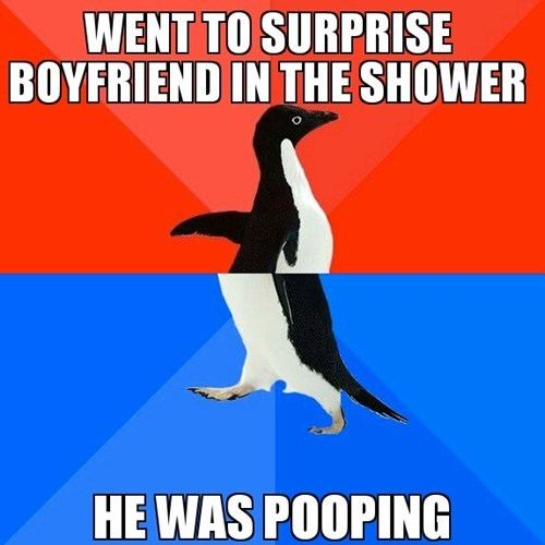 socially awkward awesome penguin TMI surprise bathroom funny - 7472234496