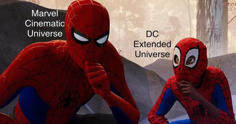 marvel mocking DC trending memes know your meme learning to be spider-man spiderverse Spider-Man fortnite video games minecraft into the spiderverse coke vs pepsi - 7474949