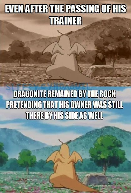 Sad Pokémon anime dragonite funny - 7476027136