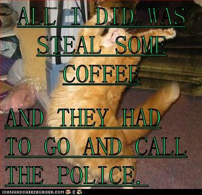 ALL I DID WAS STEAL SOME COFFEE  AND THEY HAD TO GO AND CALL THE POLICE.