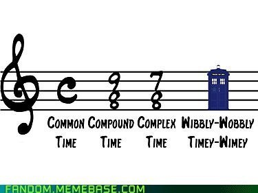 Music wibbly wobbly timey wimey tardis doctor who sheet music time signature funny - 7477332224