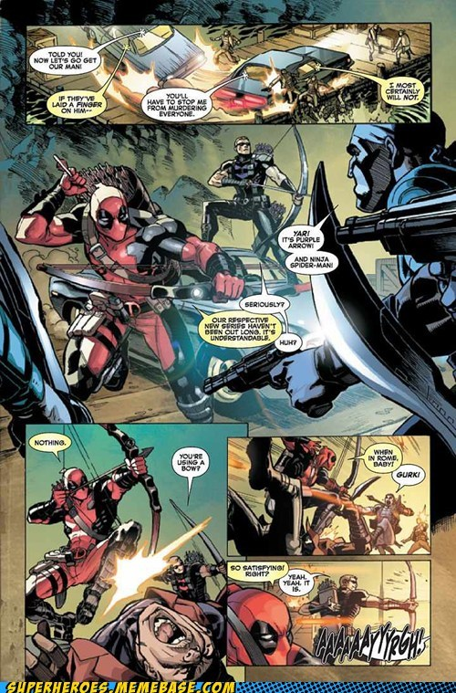 bow deadpool off the page purple arrow funny - 7478125056